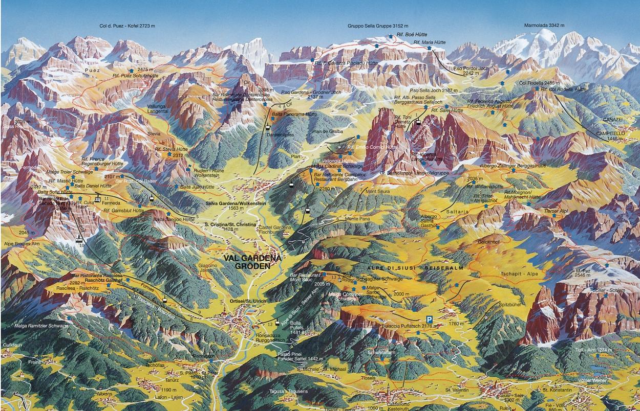 Cartina 3d Dolomiti.Escursioni Nelle Dolomiti Val Gardena
